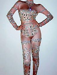 baratos -Trajes de dança Roupas de Dança Exótica / Macacões de boate Mulheres Espetáculo Elastano Franzido / Cristal / Strass Manga Longa Collant / Pijama Macacão