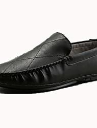 Недорогие -Муж. Наппа Leather Наступила зима Удобная обувь Мокасины и Свитер Черный / Коричневый / Винный