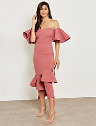 cheap -Women's Street chic / Sophisticated Sheath / Trumpet / Mermaid Dress - Solid Colored Ruffle / Split