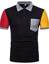 Недорогие -Муж. Спорт Polo Хлопок, Рубашечный воротник Контрастных цветов / С короткими рукавами