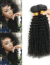 Недорогие -3 Связки Индийские волосы Африканские косы Kinky Curly 8A Натуральные волосы Необработанные натуральные волосы Подарки Человека ткет Волосы Сувениры для чаепития 8-28 дюймовый Естественный цвет
