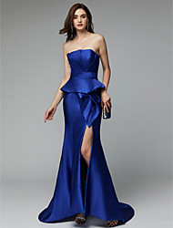 cheap -Mermaid / Trumpet Strapless Court Train Satin Chiffon Formal Evening Dress with Split Front by TS Couture®