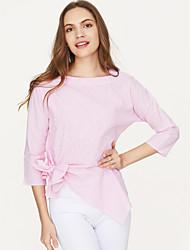 baratos -Mulheres Camiseta - Trabalho Moda de Rua Laço, Sólido Colarinho de Camisa Decote Quadrado