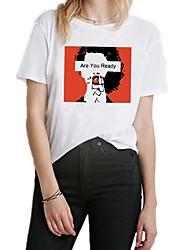 baratos -Mulheres Camiseta Básico Estampado, Letra / Retrato