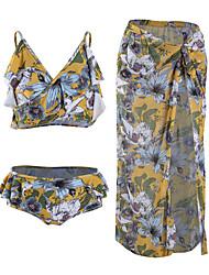 cheap -Women's Bikini - Floral Backless / Ruffle / Print Cheeky
