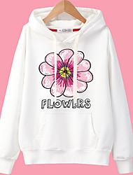 abordables -el tamaño más grande de las mujeres saliendo sudadera con capucha larga de la manga larga - floral encapuchado