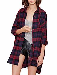 cheap -women's cotton shirt - plaid shirt collar