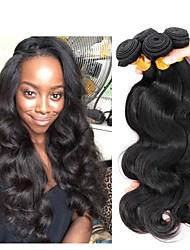 Недорогие -4 Связки Индийские волосы / Бирманские волосы Естественные кудри Необработанные / Натуральные волосы Подарки / Человека ткет Волосы / Сувениры для чаепития 8-28 дюймовый Естественный цвет