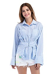 cheap -Women's Business Shirt - Striped Lace up