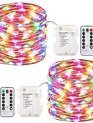 cheap -ZDM® 10m String Lights 100 LEDs SMD 0603 1 13Keys Remote Controller Warm White / Cold White / Blue Waterproof / New Design AA Batteries Powered 2pcs