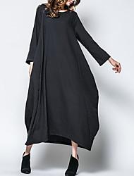 abordables -Femme Basique Maxi Ample Tunique Robe Couleur Pleine Automne Hiver Blanc Noir Rouge L XL XXL Coton Manches 3/4
