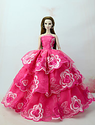 cheap -Dresses Dress For Barbie Doll Fuchsia Tulle / Lace / Silk / Cotton Blend Dress For Girl's Doll Toy