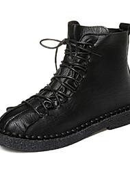 billige -Dame Fashion Boots PU Efterår Støvler Flade hæle Rund Tå Sort / Mørkebrun