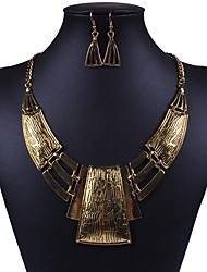 cheap -Women's Hollow Out / Cuban Link Jewelry Set - Statement, Rustic / Lodge, Geometric Include Hoop Earrings / Statement Necklace Gold / Silver For Carnival / Club