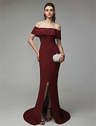 economico -A sirena Senza spalline Strascico a terra Raso Ispirazione Vintage Serata formale Vestito con Spacco sul davanti di TS Couture®