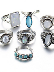 cheap -Women's Classic Stylish Knuckle Ring - Rhinestone, Alloy Flower Tropical, Romantic Adjustable Silver For Daily Festival / 7pcs