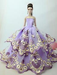 Недорогие -Платья Платье Для Barbiedoll Светло-лиловый Тюль / Кружево / Шелково-шерстяная ткань Платье Для Девичий игрушки куклы