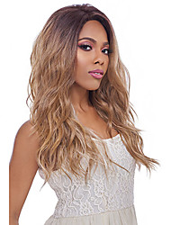cheap -Synthetic Wig Wavy Black / Blonde Middle Part Synthetic Hair 24 inch Heat Resistant / Ombre Hair / Middle Part Black / Blonde Wig Women's Long Capless Black / Strawberry Blonde / Yes