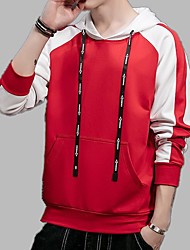 cheap -Men's Long Sleeve Hoodie - Solid Colored / Striped / Color Block Hooded