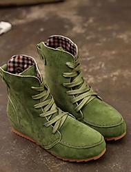 Недорогие -Жен. Fashion Boots Замша Наступила зима Ботинки На плоской подошве Круглый носок Ботинки Красный / Зеленый / Хаки