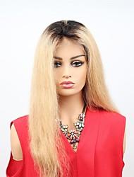 Недорогие -человеческие волосы Remy Лента спереди Парик Бразильские волосы Прямой Парик Ассиметричная стрижка 130% 150% Плотность волос с детскими волосами Женский Легко туалетный Sexy Lady Натуральный Жен.