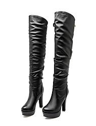 Недорогие -Жен. Fashion Boots Полиуретан Осень Ботинки На шпильке Сапоги до колена Белый / Черный / Коричневый