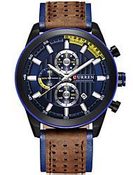 baratos -Homens Relógio de Pulso Calendário / Cronógrafo / Impermeável Couro Legitimo Banda Luxo / Rígida Preta / Azul / Vermelho