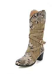 billiga -Dam Slouch Boots Linne / PU Höst vinter Vintage Stövlar Bastant klack Rundtå Stövletter Spänne Beige / Grå