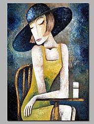 abordables -Peinture à l'huile Hang-peint Peint à la main - Abstrait / Personnage Moderne Toile / Toile tendue