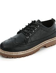 Недорогие -Муж. Наппа Leather Наступила зима Удобная обувь Туфли на шнуровке Черный / Коричневый