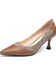 cheap -Women's Nappa Leather Spring Basic Pump Heels Stiletto Heel Black / Brown