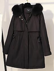 Недорогие -длинное пальто женщин - цветочное / ботаническое с капюшоном