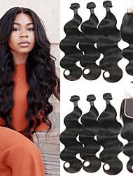 baratos -3 pacotes com fechamento Cabelo Indiano Onda de Corpo Cabelo Humano Extensões de Cabelo Natural / Trama do cabelo com Encerramento 8-26 polegada Tramas de cabelo humano 4x4 Encerramento Melhor