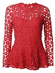 cheap -Women's Street chic Shirt - Solid Colored Lace / Mesh / Lace Trims
