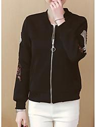 Недорогие -Жен. Куртка Однотонный / Цветочные / ботанический Вышивка