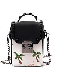 baratos -Mulheres Bolsas PU Telefone Móvel Bag Botões / Estampa Branco / Preto / Branco / Preto
