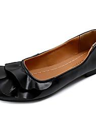 Недорогие -Жен. Обувь Полиуретан Лето Удобная обувь На плокой подошве На плоской подошве Квадратный носок Белый / Черный / Зеленый