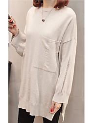 Недорогие -Жен. Длинный рукав Длинный Пуловер - Однотонный Вырез под горло