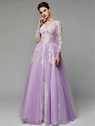 cheap -Princess V Neck Floor Length Lace / Tulle Formal Evening Dress with Beading / Appliques by TS Couture® / Illusion Sleeve