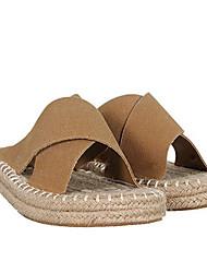Недорогие -Жен. Обувь Кожа Лето Удобная обувь Тапочки и Шлепанцы На плоской подошве Черный / Желтый