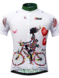 cheap -21Grams Women's Short Sleeve Cycling Jersey - White Floral / Botanical Bike Jersey Top, Quick Dry Ultraviolet Resistant Front Zipper, Spring Summer Fall, 100% Polyester / Breathable / Stretchy