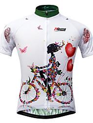 Недорогие -21Grams Жен. С короткими рукавами Велокофты - Белый Цветочные / ботанический Велоспорт Джерси, Быстровысыхающий, Ультрафиолетовая устойчивость, Дышащий / Эластичная / Италия Импортные чернила