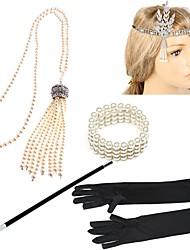 abordables -Gatsby le magnifique Rétro Années 20 Costume Femme Bandeau Garçonne Coiffure Collier de perles noir + argent / Or + Noir / Noir blanc Vintage Cosplay Strass Plume Déguisement d'Halloween