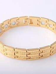 abordables -Homme Stylé / Lien / Chaîne Bracelet Hologramme / Large bracelet - Acier au titane Pointe Elégant, simple, Classique Bracelet Or Pour Quotidien / Sortie