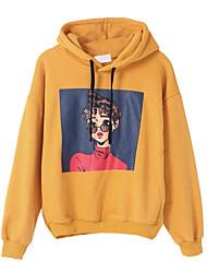 baratos -hoodie de manga comprida para mulher - retrato com capuz