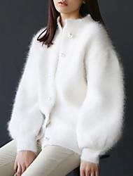 billige -Kvinders langermet cardigan - solid farvet rund hals