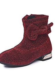 Недорогие -Девочки Обувь Полиуретан Наступила зима Модная обувь Ботинки Для прогулок Бант / Пайетки для Дети Черный / Серый / Красный
