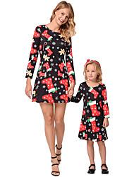 cheap -2pcs Adults / Kids Mommy and Me Geometric Long Sleeve Dress