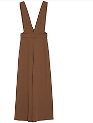 billige -Kvinder bomuld overalls bukser - solidfarvet