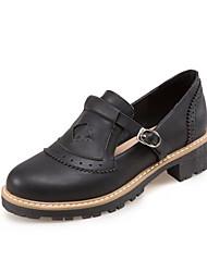 Недорогие -Жен. Обувь ПВХ Весна Удобная обувь На плокой подошве На низком каблуке Закрытый мыс Черный / Синий / Розовый